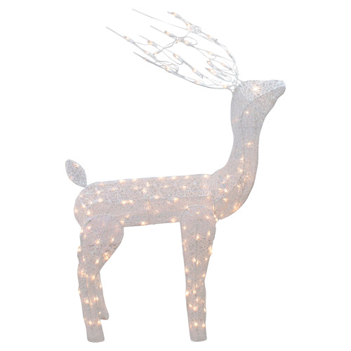 48-Inch Lighted White Mesh Buck Outdoor Christmas Decoration - Clear Lights - IMAGE 1