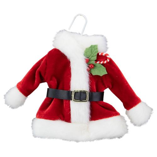 6.5-Inch Plush Red Velvet Santa Jacket on Hanger Christmas Ornament - IMAGE 1