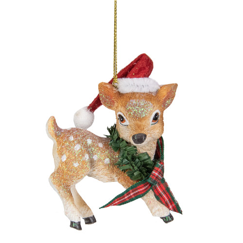 "3"" Fawn Reindeer Wearing Santa Hat and Plaid Bow Christmas Ornament - IMAGE 1"