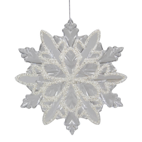 """5.5"""" Clear Snowflake with White Design Christmas Ornament - IMAGE 1"""