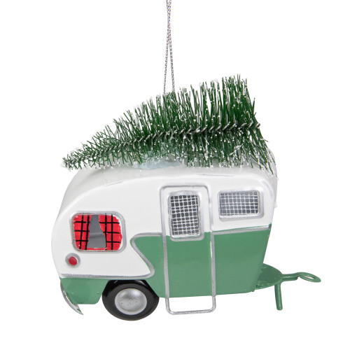 """4.25"""" Green and White RV Camper Van with Tree Christmas Ornament - IMAGE 1"""