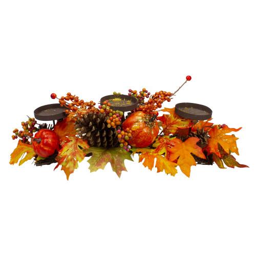 """21"""" Orange Fall Harvest Leaves and Pumpkins Candle Holder - IMAGE 1"""