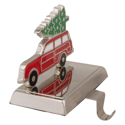 """5.25"""" Red Vintage Station Wagon Car with Tree Christmas Stocking Holder - IMAGE 1"""