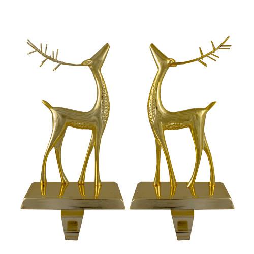 "Set of 2 Gold Standing Reindeer Christmas Stocking Holders 9.75"" - IMAGE 1"