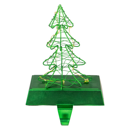 """8"""" LED Lighted Green Wired Christmas Tree Stocking Holder - IMAGE 1"""