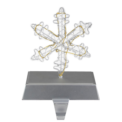 """7.5"""" LED Lighted Silver Wired Snowflake Christmas Stocking Holder - IMAGE 1"""