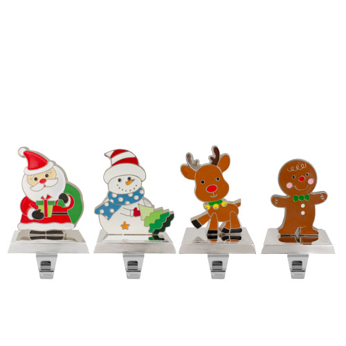 Set of 4 Christmas Figures Stocking Holders with Silver Base - IMAGE 1