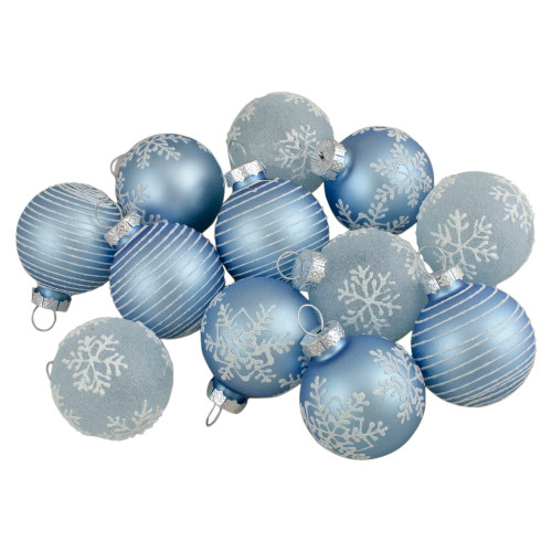 Set of 12 Light Blue Glass Christmas Ornaments 1.75-Inch (45mm) - IMAGE 1