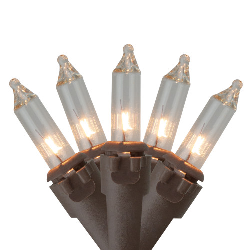 10 Count Clear Mini Christmas Light Set, 5.5 ft Brown Wire - IMAGE 1