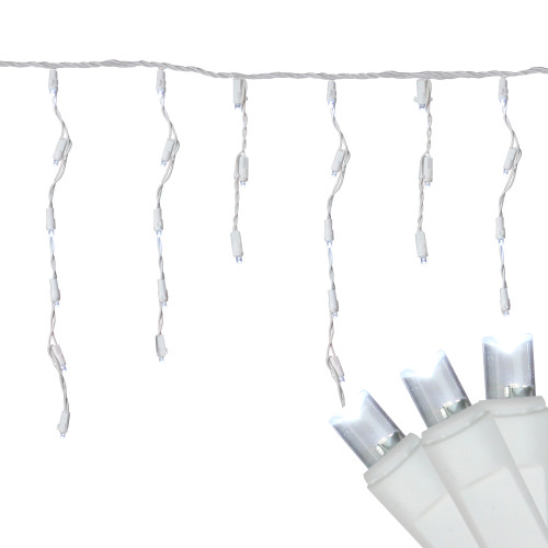 300 Count Cool White LED Wide Angle Icicle Christmas Lights, 24.5 ft White Wire - IMAGE 1