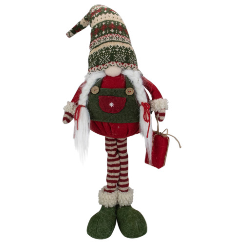 "28"" Red and Green Fair Isle Standing Gnome Girl Christmas Figure - IMAGE 1"