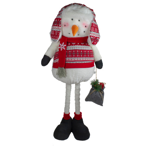 33-Inch Red, White, and Gray Plush Christmas Snowman with Telescopic Legs - IMAGE 1