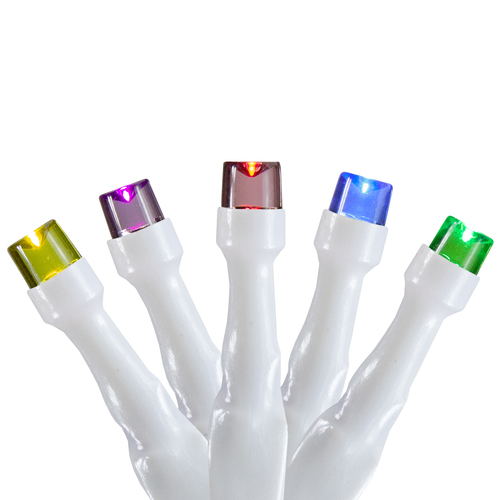10 B/O Multi LED Wide Angle Christmas Lights - 3 ft White Wire - IMAGE 1