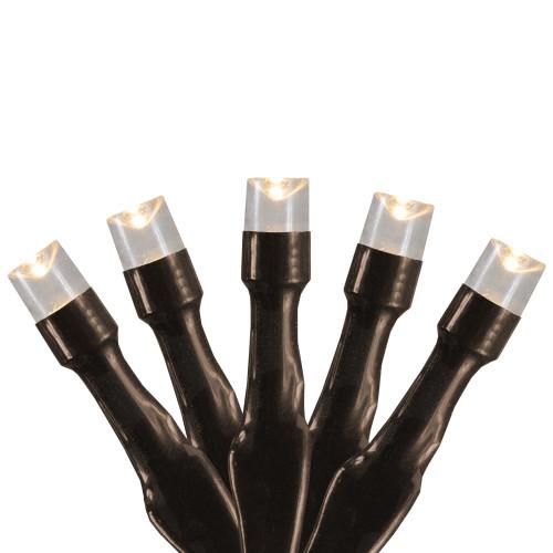 10 B/O Warm White LED Wide Angle Christmas Lights - 3 ft Brown Wire - IMAGE 1