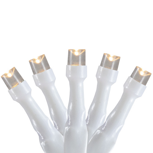 10 B/O Warm White LED Wide Angle Christmas Lights - 3 ft White Wire - IMAGE 1