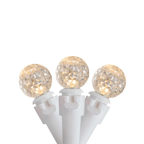 50 Count Warm White LED G12 Berry Mini Christmas Lights, 15.9 ft White Wire - IMAGE 1
