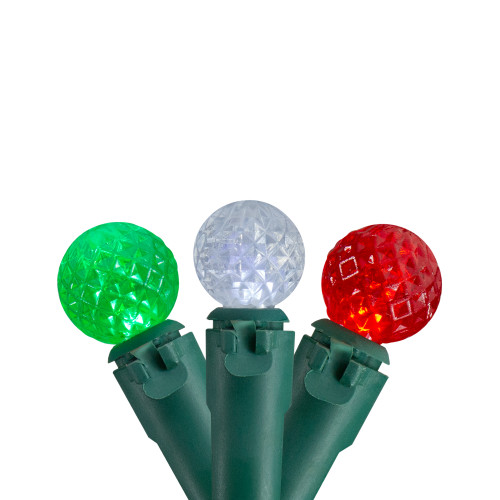 50 Count Red, Green and White LED G12 Berry Christmas Lights, 15.9 ft Green Wire - IMAGE 1