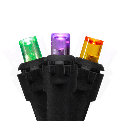 50 Count Purple, Green and Orange LED Christmas Lights, 16 ft Black Wire - IMAGE 1