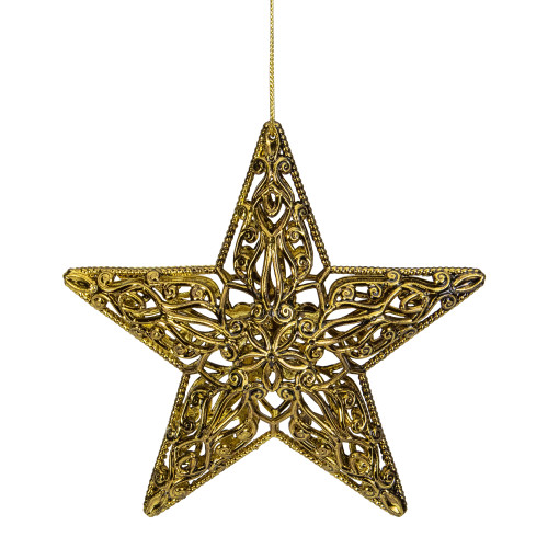 "4"" Gold Filigree Style Star Christmas Ornament - IMAGE 1"