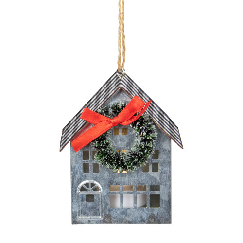 """3.5"""" LED Lighted Galvanized House with Wreath Christmas Ornament - IMAGE 1"""