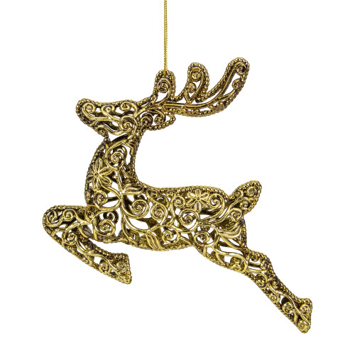 """7"""" Gold Filigree Style Leaping Reindeer Christmas Ornament - IMAGE 1"""