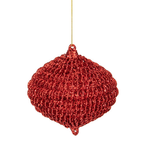 """4"""" Red Glitter Spiral Coiled Wire Onion Finial Christmas Ornament - IMAGE 1"""