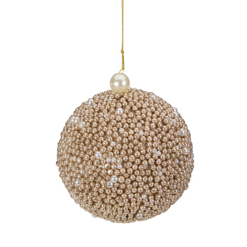 4-Inch Gold Glitter Beaded Christmas Ball Ornament - IMAGE 1