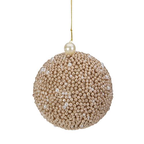 4-Inch Gold Glitter Beaded Christmas Ball Ornament - IMAGE 1