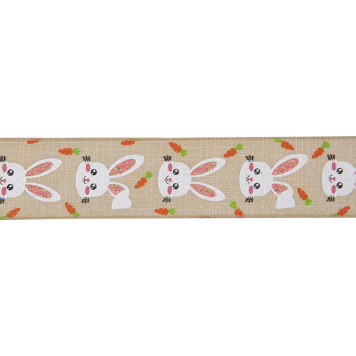"""Natural Brown Spring Easter Wired Craft Ribbon 2.5"""" x 10 Yards - IMAGE 1"""