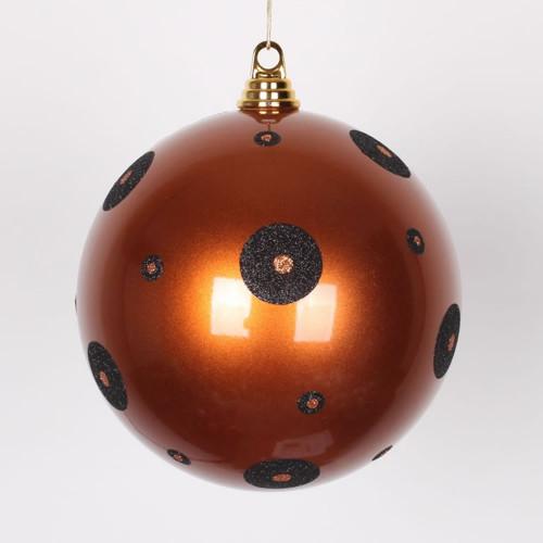 "2-Finish Brown and Black Polka Dots Shatterproof Christmas Ball Ornament 8"" (200mm) - IMAGE 1"