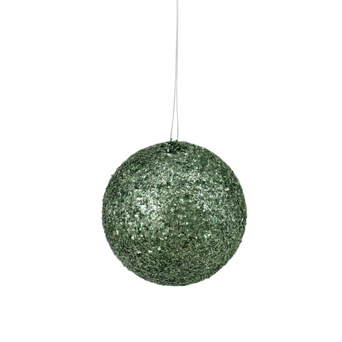"Holographic Glitter Emerald Green Shatterproof Christmas Ball Ornament 4.75"" (120mm) - IMAGE 1"