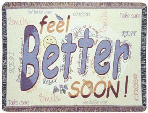 """Feel Better Get Well Speedy Recovery Afghan Throw Blanket 40"""" x 50"""" - IMAGE 1"""