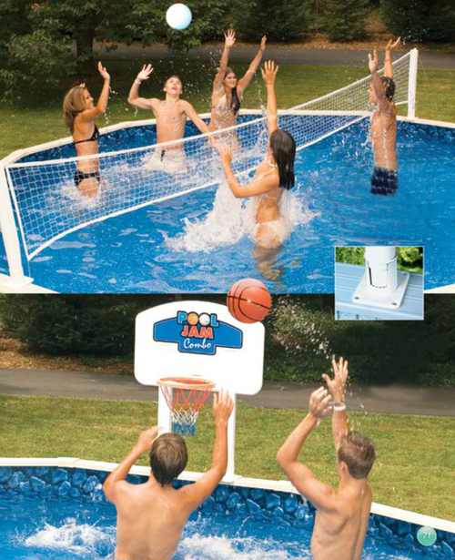 30' Pool Jam Combo Basketball and Volleyball Swimming Pool Game - IMAGE 1