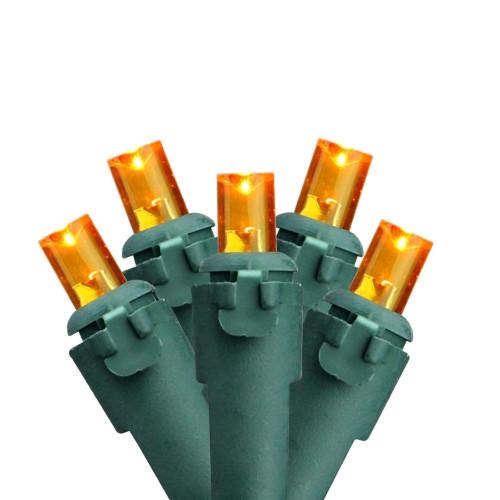 50ct Yellow Wide Angle LED Christmas Lights, Green Wire - IMAGE 1
