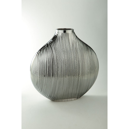 """14"""" Silver and Clear Oval Hand Blown Glass Vase - IMAGE 1"""