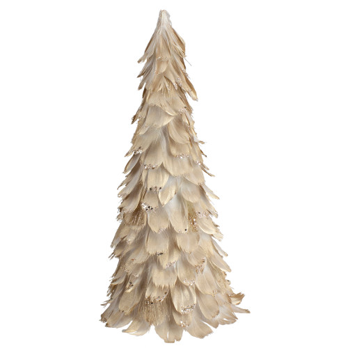 """14.5"""" Gold Feather Table Top Christmas Tree with Glitter - IMAGE 1"""