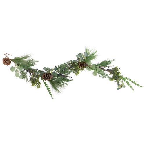 5' Blueberry Eucalyptus Pine Artificial Christmas Garland - Unlit - IMAGE 1