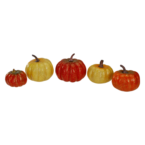 "Set of 5 Artificial Pumpkins Fall Harvest Tabletop Decor 4"" - IMAGE 1"