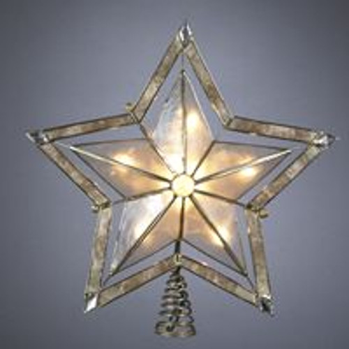 """10"""" Lighted Smoky Capiz Shell Star Christmas Tree Topper - Clear Lights - IMAGE 1"""