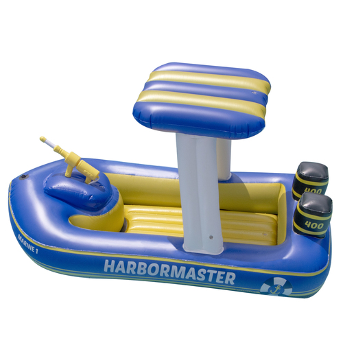 """67"""" Blue and Yellow Harbor Master Patrol Boat with Pump Squirter Swimming Pool Float - IMAGE 1"""