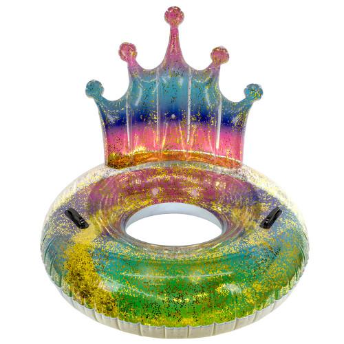 "43"" Rainbow Glitter Tiara Swimming Pool Inflatable Inner Tube - IMAGE 1"