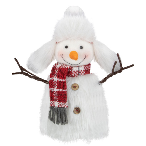 """10.25"""" Plush White and Red Snowman Tabletop Christmas Decoration - IMAGE 1"""