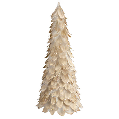 """18"""" Gold Feather Cone Table Top Christmas Tree with Glitter - IMAGE 1"""