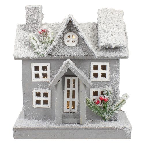 Lighted White and Gray Snowy House Christmas Tabletop Decoration - IMAGE 1
