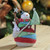 """6.75"""" Striped Yarn Wrapped Snowman with Tree Christmas Figure Decoration - IMAGE 2"""