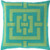 """20"""" Blue and Green Geometric Square Throw Pillow - Down Filler - IMAGE 1"""