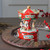 """6.5"""" Red and White Animated Musical Carousel Christmas Music Box - IMAGE 3"""