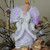 "13"" Gray and Silver Lighted Fiber Optic Angel in Gown Christmas Tree Topper - Multicolor Lights - IMAGE 3"
