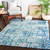 """2'7"""" x 7'3"""" Geometric Pattern Blue and Gray Machine Woven Area Rug - IMAGE 3"""