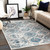 """6'7"""" x 9' Distressed Finish Geometric Pattern Teal and Beige Rectangular Machine Woven Area Rug - IMAGE 3"""